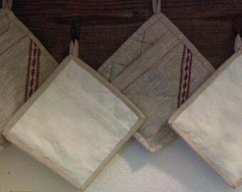 """Pure Linen Shell Pocket Pot Holder """"Bleached Sandshell"""""""