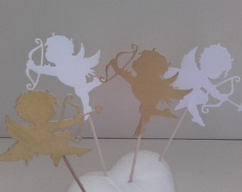 Set 12 pcs Cupid Cupcakes Toppers, Valentine Cupcakes Toppers, Valentine Party Decor