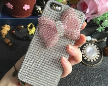 Bling Luxury Pink 3D Bow Sparkly Silver Gems Chic Crystals Rhinestones Diamonds Gemstones Fashion Hard Cover Case for Various Mobile Phones