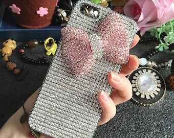 Bling Luxury Pink 3D Bow Lovely Fashion Sparkles Charms Glossy Jewelled Crystals Rhinestones Diamonds Gems Hard Cover Case for Mobile Phone