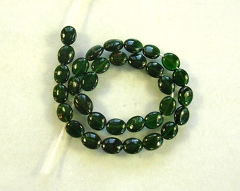 "Chrome green tourmaline smooth oval bead AA+ 5.5-6 x 5mm 7.5"" strand"
