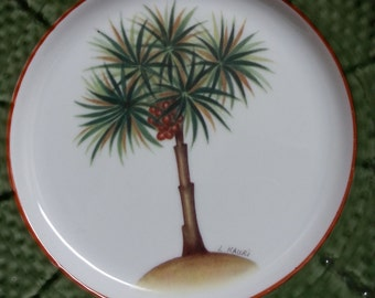 "Godinger ""Email de Limoges Decor a la main"" collectible palm tree plate - Limoges"