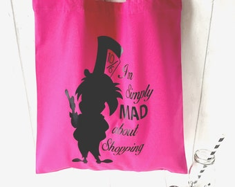 Alice in Wonderland Mad Hatter Pink Cotton Tote shopping bag