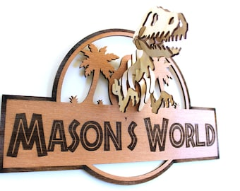 Jurassic Inspired 3D Dinosaur Wooden Personalised Sign, boys room, door sign, wall hanging, TRex, Tyrannosaurus