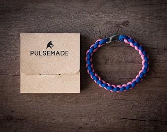 Men's Bracelet-royal blue-pink unisex-Pulsemade Weave Collection-Handmade paracord 550 bracelet Mens-Womens Blue Royal-Pink