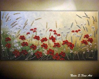 Heavy Textured Wildflower Painting Original Contemporary Landscape on Canvas Palette Knife Impasto Poppies & Daisy by Nata...MADE to ORDER