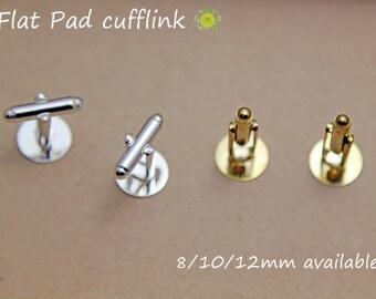 Silver Plated Cuff link-Cuff Link set-Wedding Cufflinks Blank-Cuff links-WHOLESALE Cufflink Blanks-10mm cufflink trays-2 Color-Select Qty