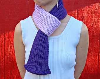 Two-tone Purple Ribbed Scarf