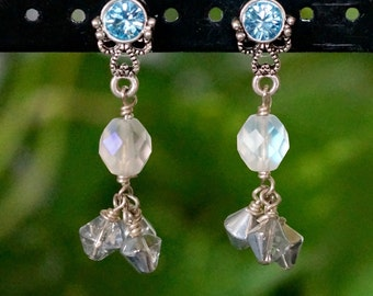 Free Shipping! Handmade Dangle Cluster Earrings with Czech Beads and Silver Plated Blue Swarovski Crystal Earring Finding