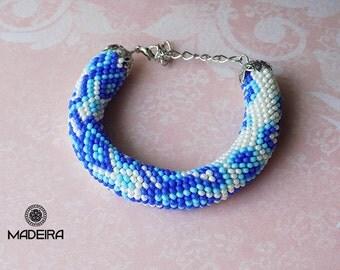 Bracelet harness beaded bohemian style, Cuff bracelet, bead bracelet, bracelet Gzhel colors