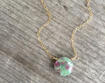 Ruby in Fuschite Necklace - Layering Necklace - Ruby Necklace -Fuschite Necklace - Ruby Fuschite Necklace - Stocking Stuffer