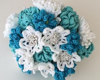 Blue Crochet Wedding Bouquet, Aqua Artificial Flowers, Turquoise Alternative Wedding Flowers, White Bridal Brooch Bouquet, Chrysanthemum