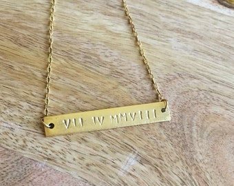 Roman Numeral Stamped Necklace, Bar Necklace