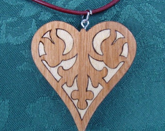 Wooden Inlay Heart Necklace