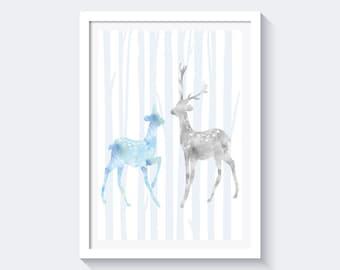 Watercolor deers Print blue and gray, nursery deer print, nursery decor, deer print, instant download