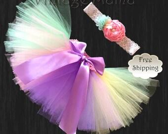 Rainbow Tutu with Matching Headband - for Newborns up to 3yr old girls