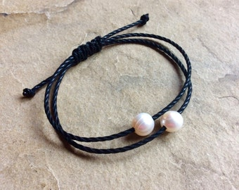 2 rows black cotton shamballa bracelet with real pearls, macramé knotted shamballa closure, freswater pearls black cotton bracelet