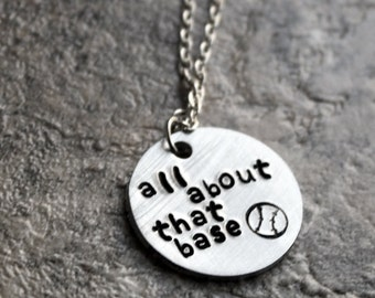 All About That Base Necklace, Baseball Fan Necklace, Baseball Player Jewelry, Sports Jewelry, Sterling Silver Ball Game Jewelry
