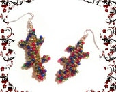 rainbow lizard ,beadwork colorful beaded earrings, colorful beaded lizard seed beads earrings, green brown pink gold blue red beaded earring