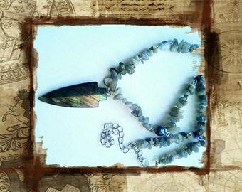 Labradorite pedant gemstone chain necklace grey handmade gemstones necklace, grey carved pendant gemstone jewelry, handmade gemstones pedant