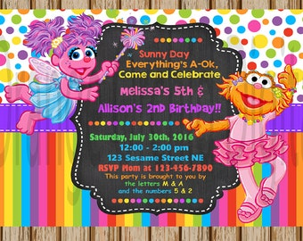 "Zoe and Abby Birthday Invitations- Custom Sesame Street Invitations- Sisters Birthday Party- Abby - 5"" x 7"" size- Digital- Print at Home"