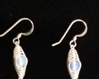 Opalite in sterling silver herringbone earrings