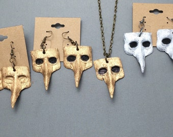 15% off! Plague Doctor Necklace and Earrings set, Plague Doctor Masks,steampunk, goth, cosplay, plague Doctor, 3D printed, roleplaying,