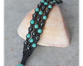 Turquoise Hematite Macrame Bracelet