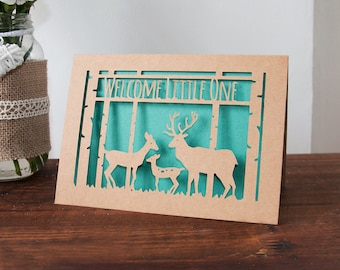 Baby Card - Deer Family Paper Cut - Welcome Little One - 5x7 Inches - Bold Colours