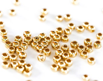1789_ Golden beads 2.5 mm, Round beads, Gold plated beads, Beads for jewelry, Round metal beads, Jewelry findings, Golden findings _50 pcs.