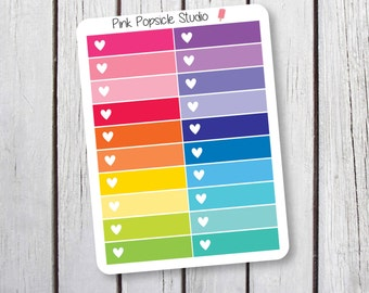 Single Heart Checkbox Planner Stickers Designed for Erin Condren Life Planner Vertical