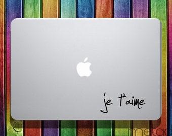 "Je t'aime I love You French Macbook Sticker Decal 13"" - laptop stickers, macbook stickers, macbook decals, macbook sticker, pro Je Taime"