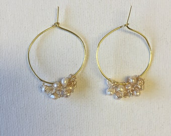 Gold Crochet Wire Hoop Earrings With Freshwater Pearls