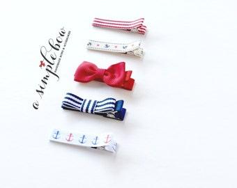 Nautical Bow | Red Bow Clip | Hair Clip | Baby Hair Clip | Toddler Hair Clip | Hair Clip Set | Barrette | Hair Clip for Girl | Anchor Clip