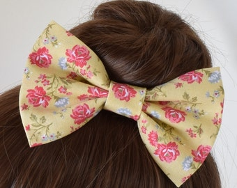 Yellow Hair Bow | Floral Hair Bow | Fabric Hair Bow | Hair Bows for Girls | Hair Bows for Teens | Hair Bows for Women | Party Hair Bow