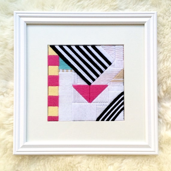 Yarn Art Framed Pink Yellow Teal Black White Embroidered