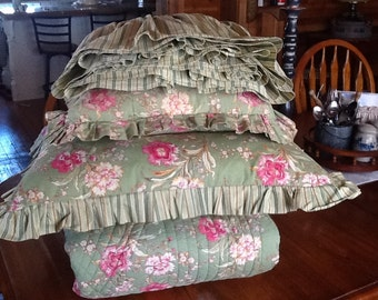Green Floral Queen Bedding Set