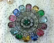 Vintage Multi Coloured Circular Brooch, Antiqued Filigree Brooch, Vintage Gift, Circa 1930,