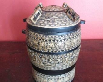 Vintage Carved Soapstone Lidded Jar Vietnam