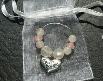 Faceted Rose Quartz Gemstone 'Best Friend' Wine Glass Charm