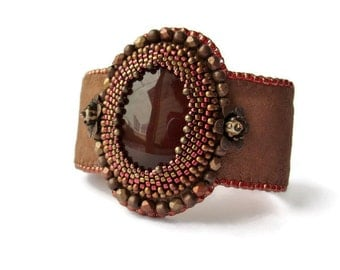 Brown leather with cornelian Cuff Bracelet, ethnic bracelet