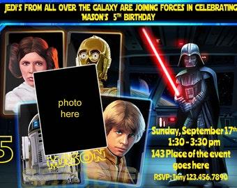 Star Wars Birthday Invitation. Star Wars Invitations. Star Wars Digital Invitation. With or Without photo. Digital (you print)