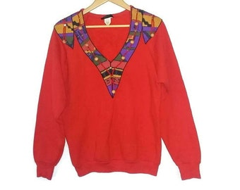Vintage Red Sweater V-Neck Boho Bohemian Aztec Navajo Sweatshirt Hippie Beads and Studs Size Large