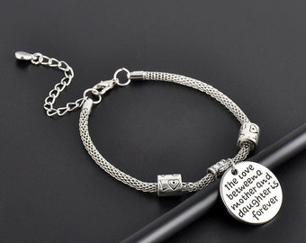Mother and Daughter, Love Bangle Silver Bracelet/Love Charms