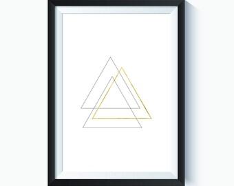 Gold, Gold Triangle, Gold Decor, Triangle, Triangle Print, Triangle Art, Geometric, Geometric Art Print, Abstract, Art Print, Printable