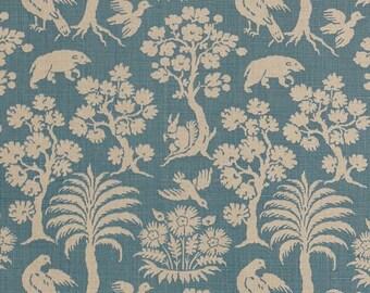 SCHUMACHER FOLK ART Forest Animals Silhouette Linen Fabric 10 Yards Cadet Blue