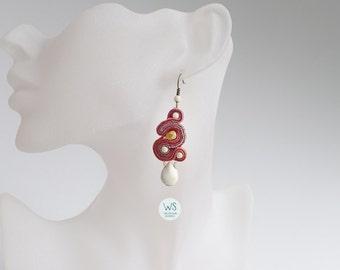 Dangle Earrings. Terracotta earrings. Red, terracotta, beige. Earrings Soutache and stones. Jewelry from Soutache.