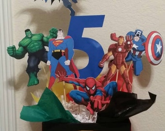 Superhero Marvel Centerpiece. Batman, Ironman, Superman, Hulk, Spiderman, Captain America