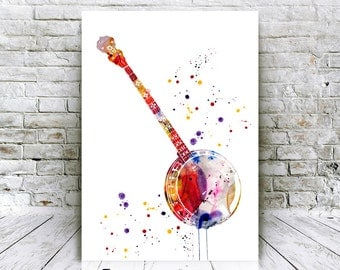 Digital Download Print - Banjo Watercolor Poster - Music Instruments Prints - Home Decor - Affordable Art Gifts