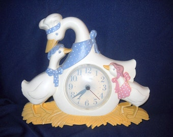 Vintage Burwood Products Co. 1987 Mother Goose Wall Clock, Works Great